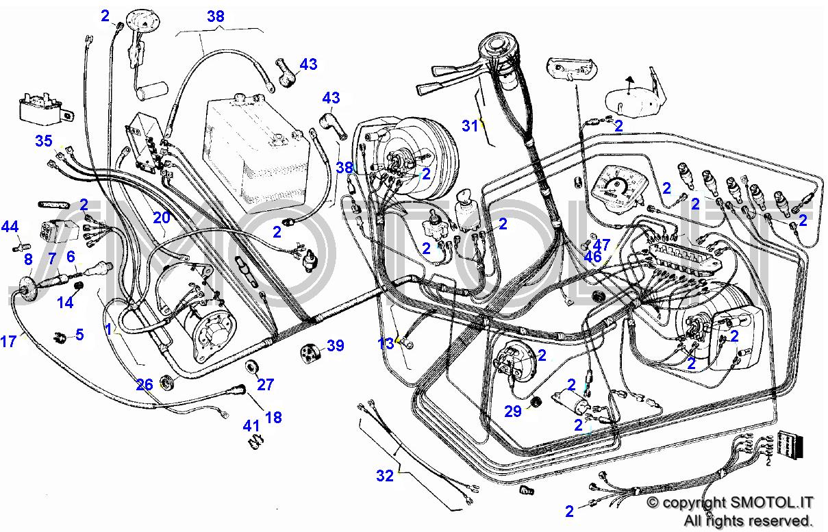 Schema Elettrico Auto : Tav 4 impianto elettrico ape 601 t4 impela601 : vendita ricambi