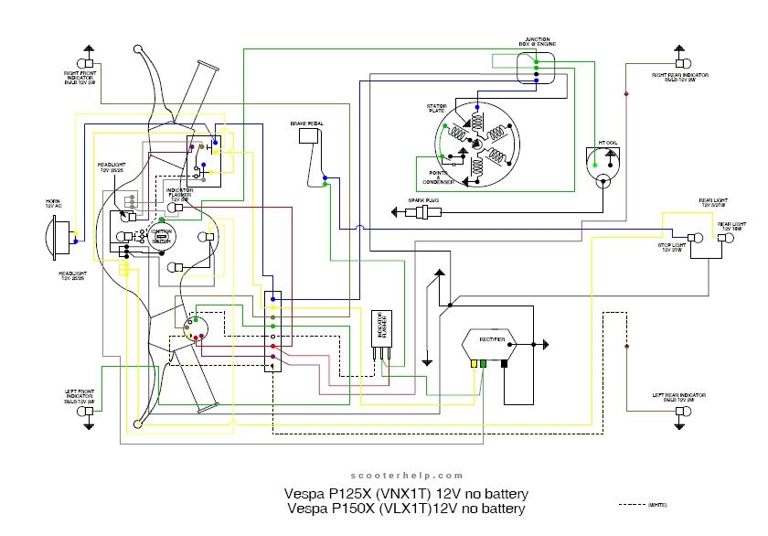 Schema Elettrico Liberty 125 : Schema elettrico vespa px vnx t gt vendita ricambi
