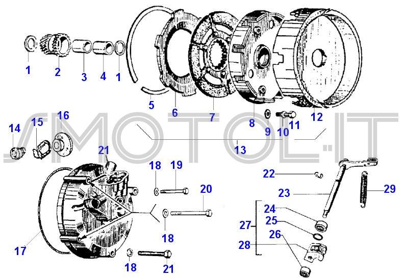 Schema Elettrico Ape Tm 703 : Frizione e componenti per ape tm dal al